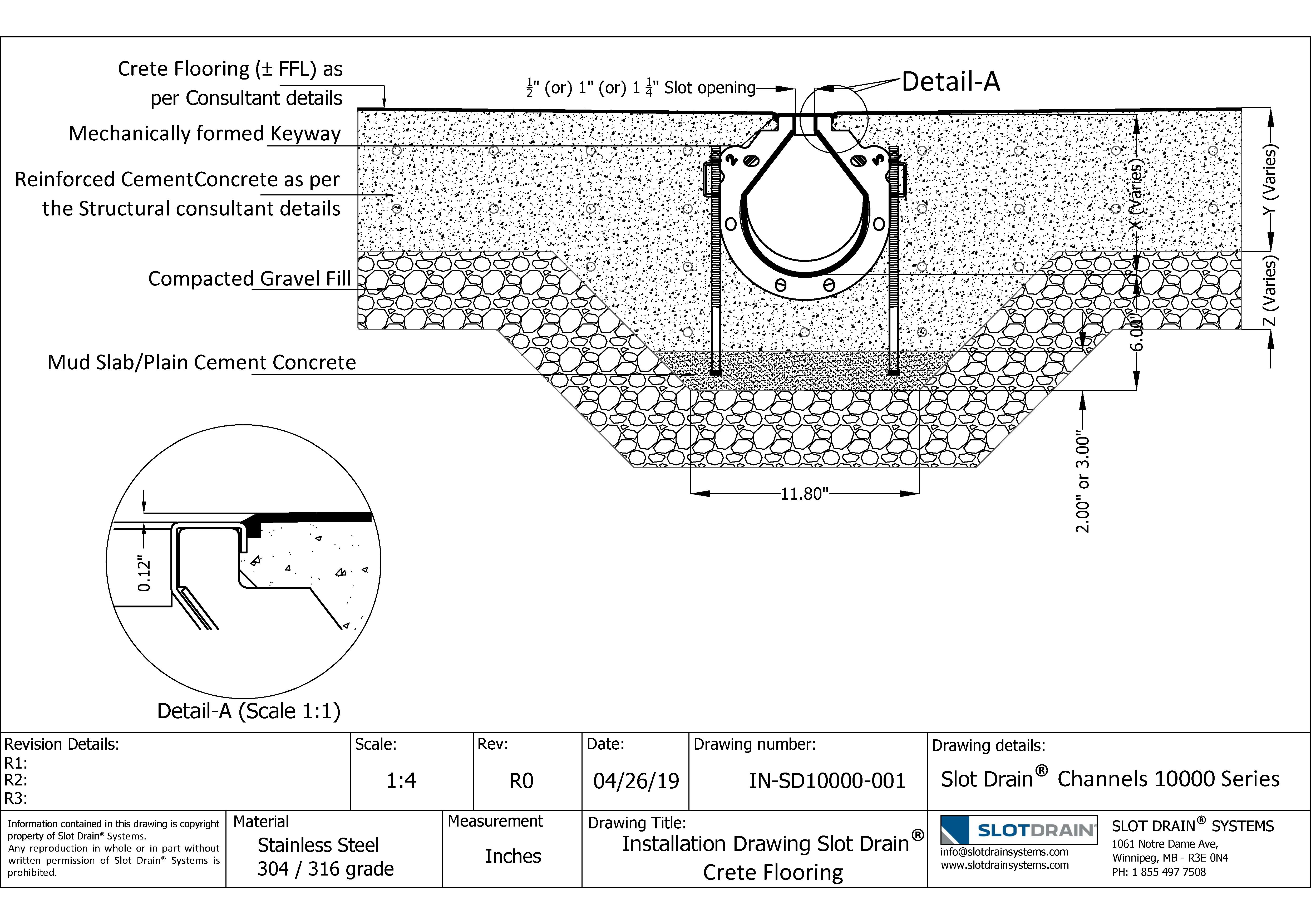 Slot drain-10000 Series Crete Flooring